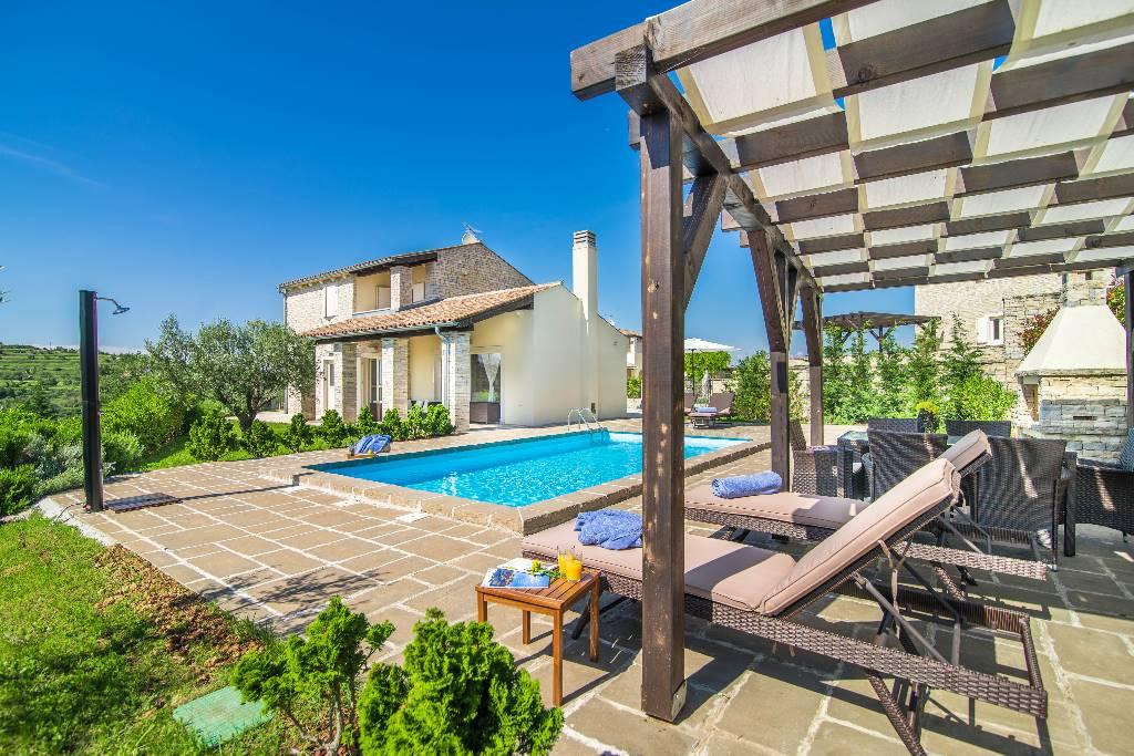 Vila Wunderschöne Villa mit Schwimmbad, Meerblick, Grill, Wifi, kostenloses WLAN, Momjan, Buje Istrien Zentral Kroatija