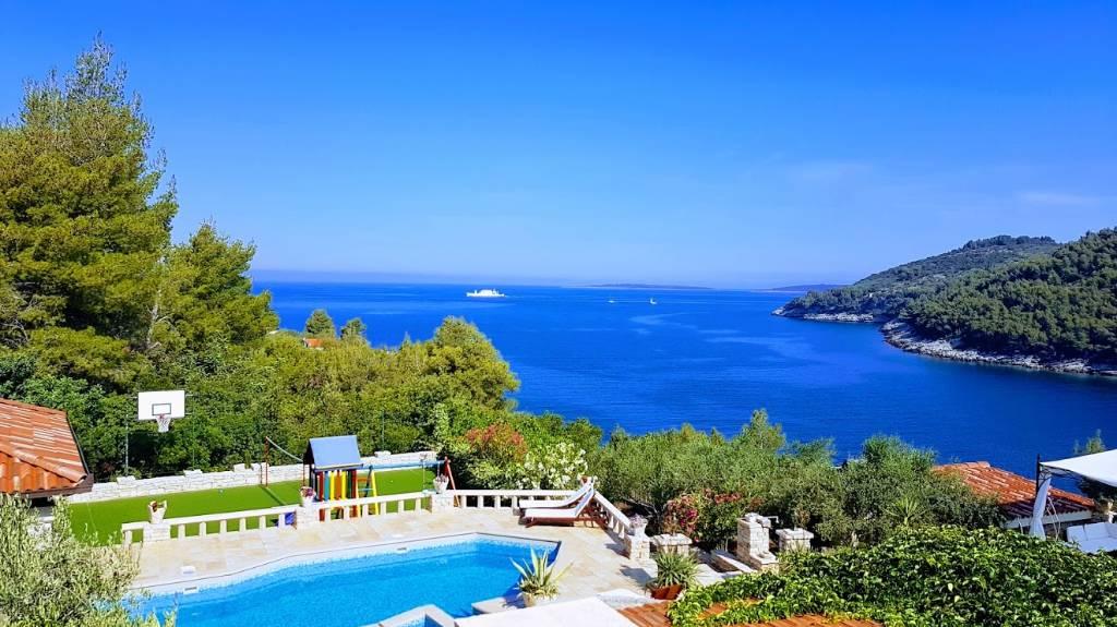 "prázdninový dom ""Steinhaus"" - Villa Poplat : ""View"" Lux; Meerblick: Schwimmbad, Sauna, Sportplat, Vela luka, Insel Korcula Süddalmatien Chorvátsko"